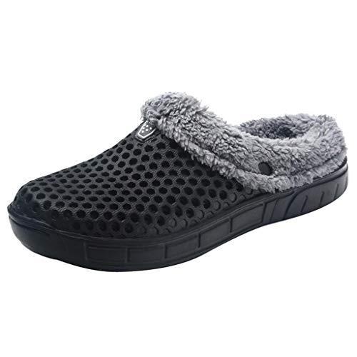 Men's Warm Winter Home Slippers Cartoon Cat Non-Slip Warm Indoors Bedroom Floor Shoes Outdoors