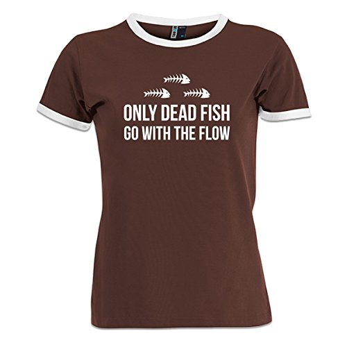 Shirtcity Only Dead Fish Go With The Flow Women's Ringer T-Shirt M Multicolored