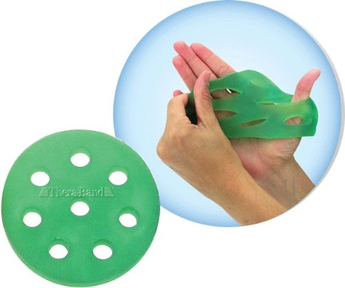 TheraBand Hand Xtrainer, Non-Latex Hand Exerciser for Progressive Hand Therapy, Strengthen Fingers, Hands and Forearms, Grip Trainer, Strengthener, Helps Relieve Joint Pain, Green Medium, - Trainer Band Thera Hand