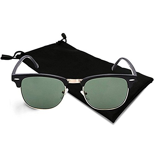 Icejazz Retro Polarized Sunglasses Half Frame Semi-Rimless Flat Glasses Unisex Clubmaster Sun glasses (Black|Dark - Hut Sungalsses