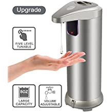 KAVAVO Automatic Soap Dispenser -Upgraded Version, Touchless Automatic Soap Dispenser, Stainless Steel Dispenser with 5 Level Adjustable Dispensing Volume, Powerful Pump and Splash-proof Base (8OZ)