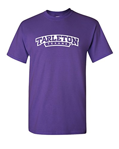 (CreateMyTee Tarleton Texans Short Sleeve T-Shirt (Medium) Purple)