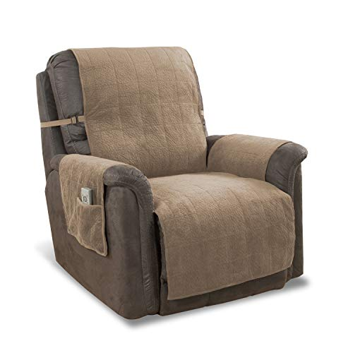 "Link Shades Anti-Slip Heavy Duty Recliner Armchair Protector | Water Resistant Microsuede Slipcover | Stay-Put Straps | Cover Protects from Dogs & Other Pets (Recliner, up to 23"" seat, Natural)"