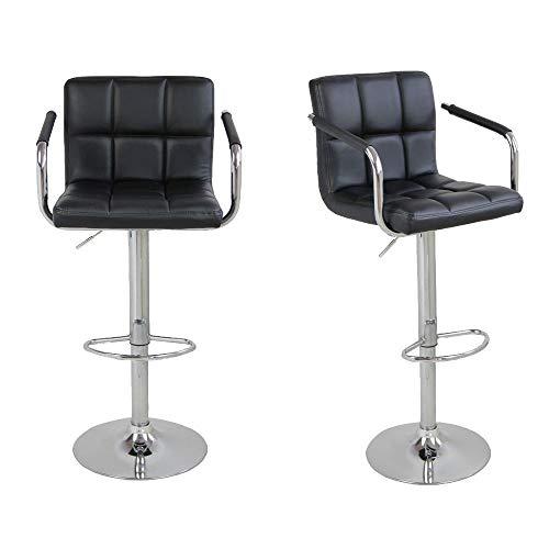 Companion Outdoor Bar Stool - CN-Cultureotd 2pcs SSJ-891 60-80cm 6 Checks Round Cushion Bar Stools with Armrest Black