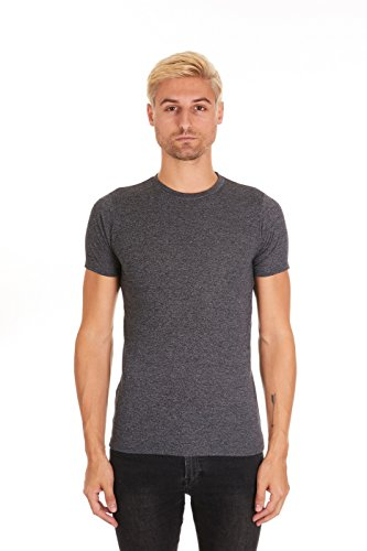 - Pacific Men's Fitted Soft Rayon Performance Short-Sleeve Crew-Neck T-Shirt (Small, Black Heather)