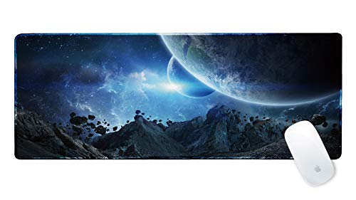 - Galdas Gaming Mouse Pad XXL XL Large Mouse Pad Mat Long Extended Mousepad Desk Pad Non-Slip Rubber Mice Pads Stitched Edges Thin Pad (31.5x11.8x0.08 Inch)-Asteroids in Galaxy Space