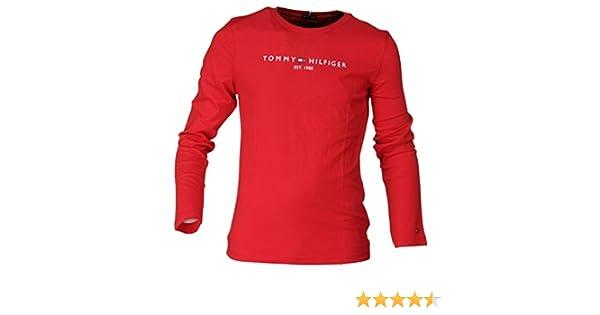 Tommy Hilfiger - Camiseta Essential Hilfiger tee L/S - Camiseta ROJA NIÑO: Amazon.es: Ropa y accesorios