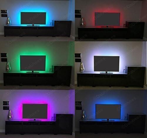 Tira LED de 1 metro con cambio de colores para poner bajo armarito o detrás de la televisión: Amazon.es: Hogar