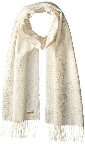 BADGLEY MISCHKA Women's Metallic Speckle Sprint Scarf, White/Gold, One Size