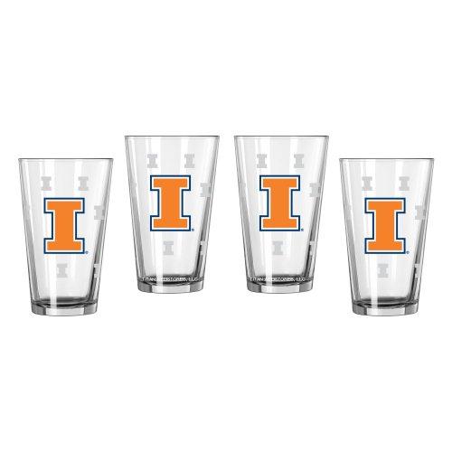 NCAA Illinois Fighting Illini Pint Glasses | University of Illinois Beer Glasses, Set of - Dorm Fighting Illinois Illini