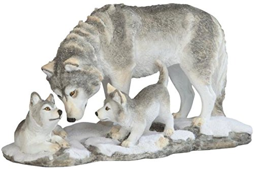 StealStreet SS-G-54274 Grey White Wolf Playing with Pups Figurines ()