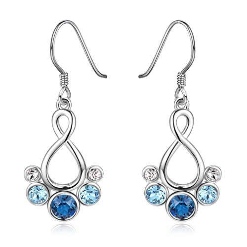 Dangle Earrings Flower Crystal - 925 Sterling Silver Infinity Dangle Earrings with Swarovski Crystals Jewelry Gift for Women Girl (Infinity)