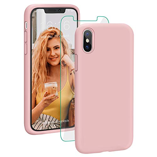 (Case for iPhone X/XS, ProBien Liquid Silicone Full Protective Cover with Free Tempered Screen Protector Shockproof Durable Shell Compatible for iPhone X/iPhone Xs 5.8 Inch 2018 Released-Sand Pink)