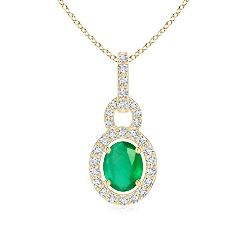 Diamond Halo Oval Emerald Pendant Necklace for Women in 14K Yellow Gold (5x4mm - Emerald Genuine Pendant Oval Green