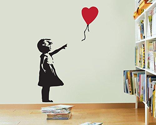 /Fille avec Ballon C/œur Autocollant Mural FoundaryWallArt Banksy Autocollant Mural/ Banksy Autocollant/ /Banksy Art Stickers muraux en Vinyle