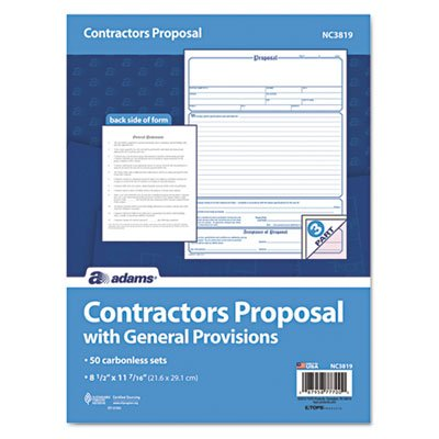 Contractor Proposal Form, 3-Part Carbonless, 8 1/2 X 11 7/16, 50 Forms by Adams Business Forms