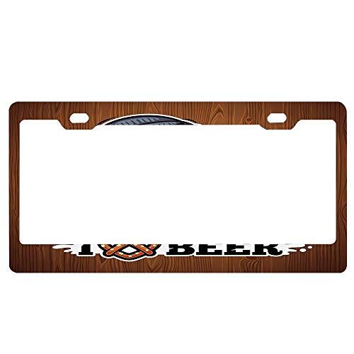 ASUIframeNJK Man Loves Beer Drinking Beverage Glass Mustache Beard Bar Enjoyment Rural Symbol License Plate Aluminum License Plate Cover Heavy Duty Car Tag (12
