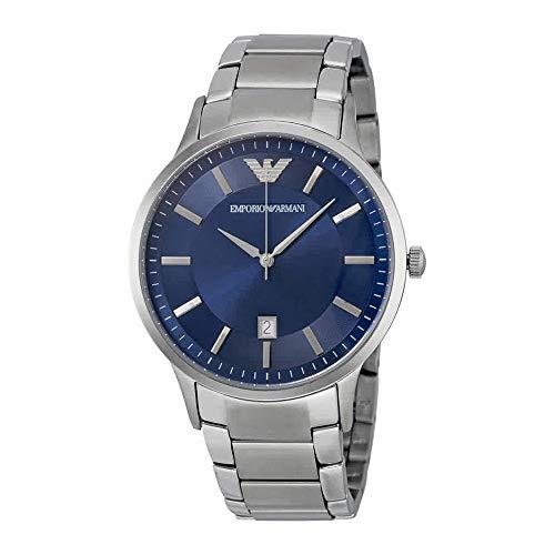 Emporio Armani Men's Renato Watch, 43mm, Silver/Blue, One Size