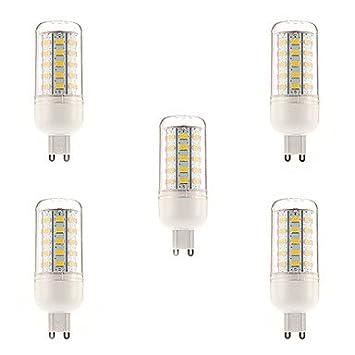 YangR* 5PCS G9 10W 48x5730SMD 1000LM 3000-3500K LED blanco cálido bombilla de maíz (220-240 V): Amazon.es: Hogar