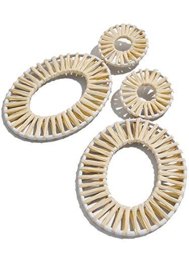 - BEST LADY Statement Drop Earrings for Women - Bohemian Beaded Round Earrings, Idea Gift for Mom, Sister and Friends (Raffia White)