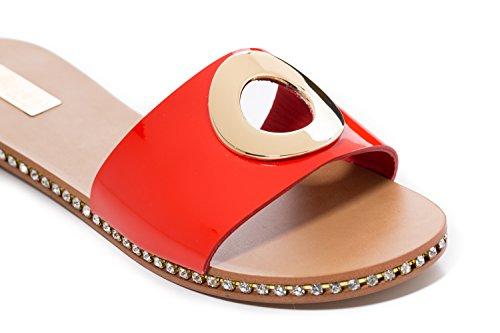 Piel Raggini de Antonio Mujer Para Rojo Sandalias de Vestir xqPgwUXag