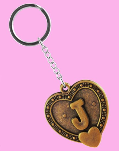 k1094 clave cadenas llavero de acero inoxidable letra J amor ...
