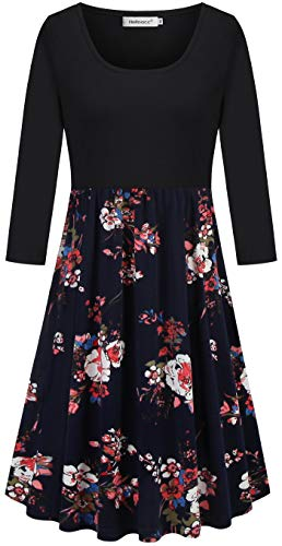 (Helloacc Loose Dresses for Women,Scoop Neck Patchwork Casual Business Work Knee-Lenth Dress Color Block Outdoor Active Tshirt Dress Soft Breathable Church Tea A Line Dress Navy Red Rose Patterned L)