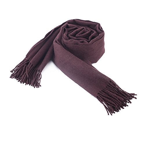 A Thick Pashmina Blanket Scarf Women. with Solid Color Shawl Wraps Warm. Tassels Scarf Classical and Larger Size. Brown Cashmere Scarf for Women. (Brown Scarf with Fringe)