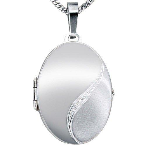 Médaillon amulette 2 brillants diamants or blanc 585 halsschmuck pour femme