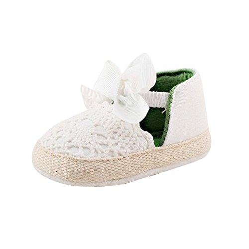 Hunpta Kleinkind Mädchen weichen Sohle Krippe Schuhe Sneaker Babyschuhe (Alter: 0 ~ 6 Monate, Hot Pink) Weiß