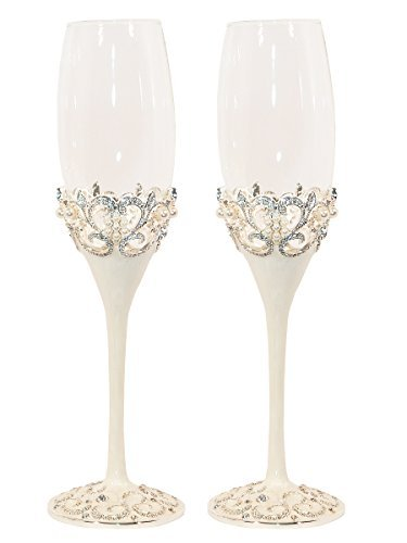 (Pearl Wedding Champagne Toasting Flutes, Set of 2)