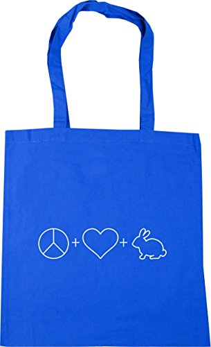 Beach HippoWarehouse Blue Cornflower Rabbits 10 litres and Love 42cm Shopping Peace Tote Gym Bag x38cm OWrW06Zn