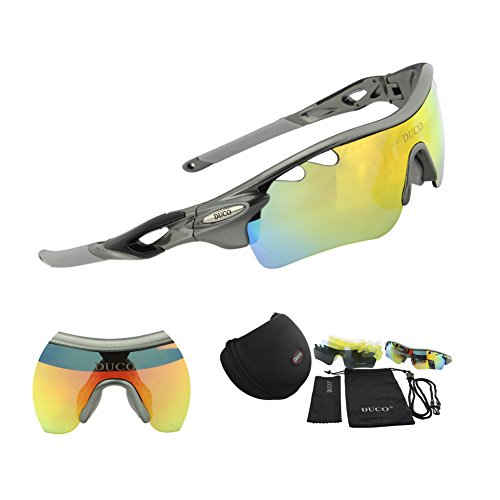 DUCO POLARIZED Sports Sunglasses UV400 Protection Cycling Glasses With 5 Interchangeable Lenses for Cycling, Baseball ,Fishing, Ski Running ,Golf - For Glasses Cycling