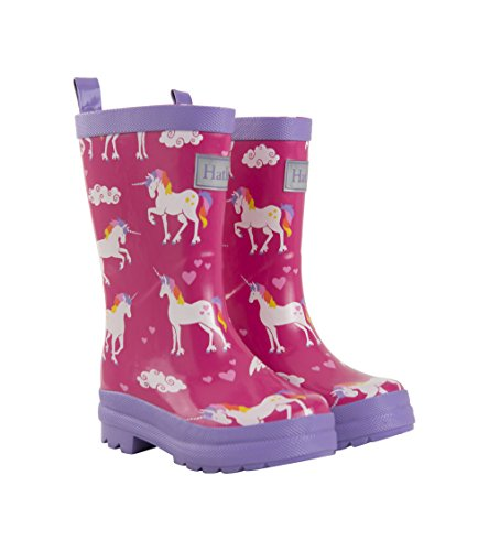 Kids Wellington (Hatley Girls' Printed Rain Boots, Rainbow Unicorns, 1 M US Big Kid)