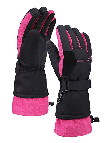 - Livingston Women Thinsulate Lining Touchscreen Ski Gloves, Black w/ Pink, Medium