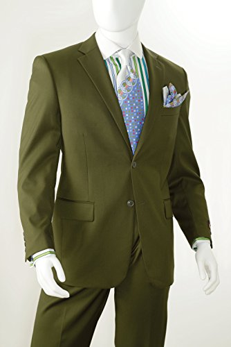 Vittorio St. Angelo Men's 2 Button Single Breasted Dress Suit A72TE-Olive-48R