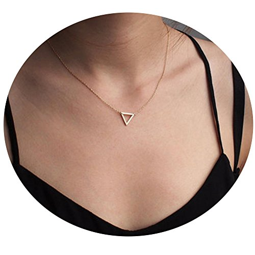 Chain Triangle Necklace - Befettly Womens Simple Bar Necklace Triangle Fatima Pendant 14k Gold Filled Necklace Choker Chain-1-Triangle