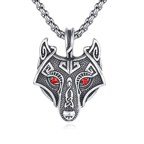 (Holyheart Handcrafted Viking Necklace Norse Amulet Pendant Necklace Celtic Pagan Jewelry Pewter Viking Gift Jewelry for Men Unisex (Viking Wolf with Red Eyes))