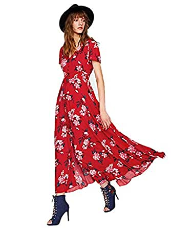 Milumia Women's Button Up Split Floral Print Flowy Party Maxi Dress X-Small Red-1