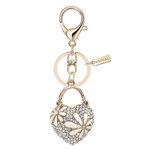 Bling Puffed Crystal Heart Love Design Keychain Key Ring with Pouch Bag MZ863-1 -