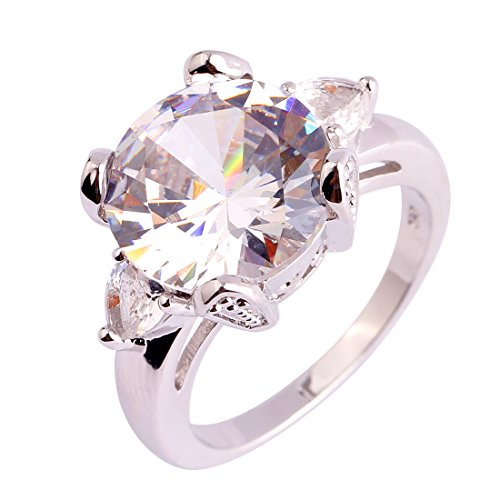 Psiroy 925 Sterling Silver Created White Topaz Filled Solitaire Engagement Ring (Genuine Topaz Ring Engagement)