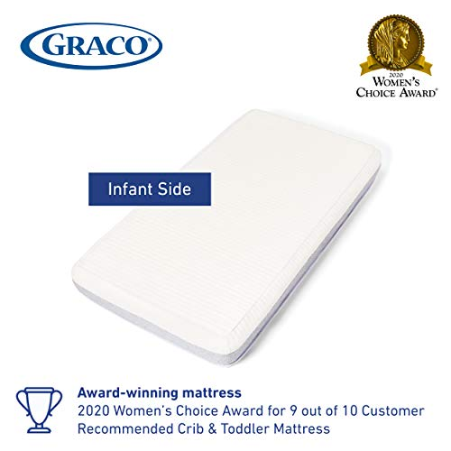 41eEvc60m2L - Graco Ultra Dual-Sided Premium Crib And Toddler Mattress – 2 Sides For Baby And Toddler, CertiPUR-US, GREENGUARD, JPMA Certified Crib And Toddler Bed Mattress, Water-Resistant, Machine-Washable Cover