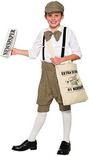 1920 Child Halloween Costumes (Gatsby 1920's Newsboy Newsie Boys Child Costume Newspaper Carrier Size)