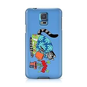 Kliban Live Aloha Cat Blue Hawaii Full Wrap Rough Case Skin, Fashion Design Image Custom , Durable Hard 3d Case Cover for Samsung Galaxy S5 Regular, Case New Design By Art-print