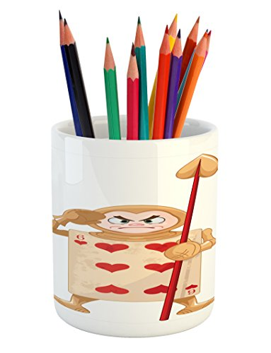 Ambesonne Alice in Wonderland Pencil Pen Holder, Playing Car