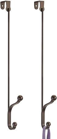 Dos percheros de Puerta para Colgar cuelga Ropa para Chaquetas MetroDecor mDesign Juego de 2 colgadores para Puerta de Metal Plateado Bolsos o Toallas