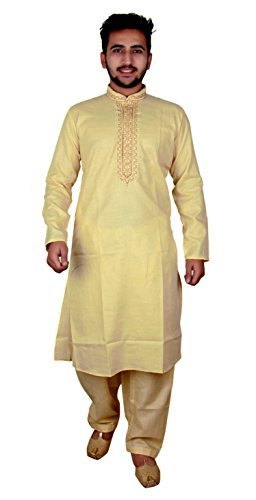 Men's Indian Cream Sherwani Cotton kurta with Salwar kameez for Bollywood party wear & EID costume - 821 (36 (S - UK), Cream) -