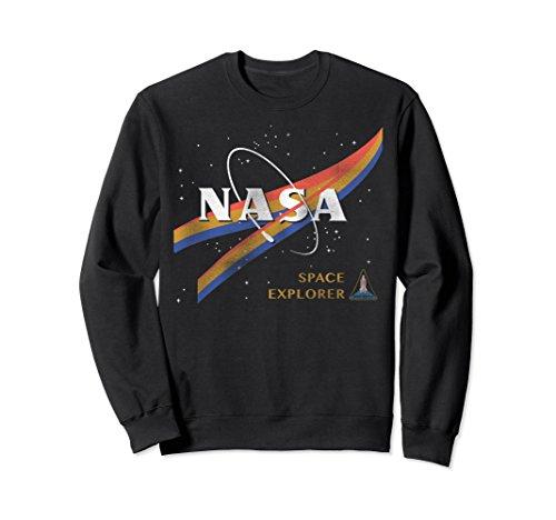 Retro Crewneck Sweatshirt - Unisex NASA Retro Chevron Space Shuttle Logo Graphic Sweatshirt Large Black