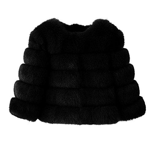 Featurestop Mink Coats Women Winter Warm Short Style Fashion Elegant Vintage Luxury New Faux Fur Jacket Warm Thick Outerwear Jacket (Black, L) ()
