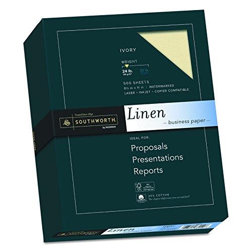 - Southworth Fine Linen Paper, Size 24, Ivory, 500 Sheets (564C)